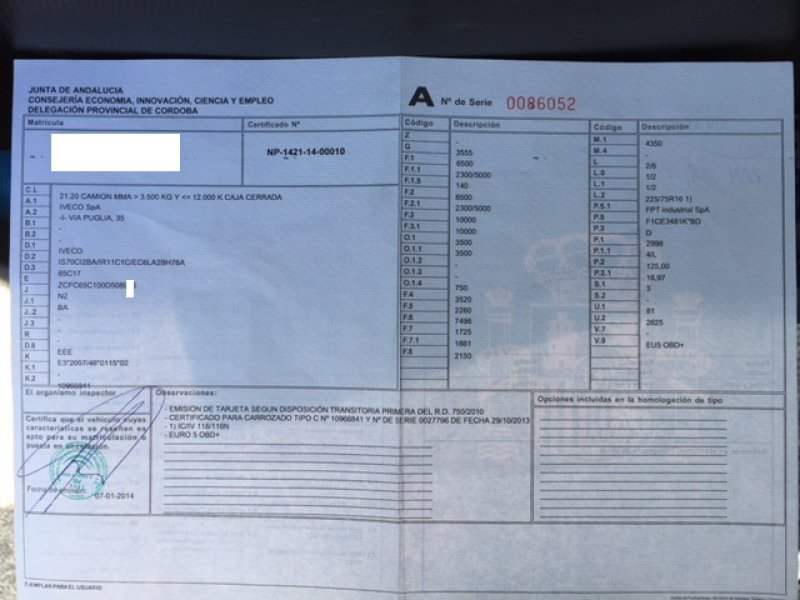 Iveco Daily EURO 5 - 3.000 cc / 170 CV