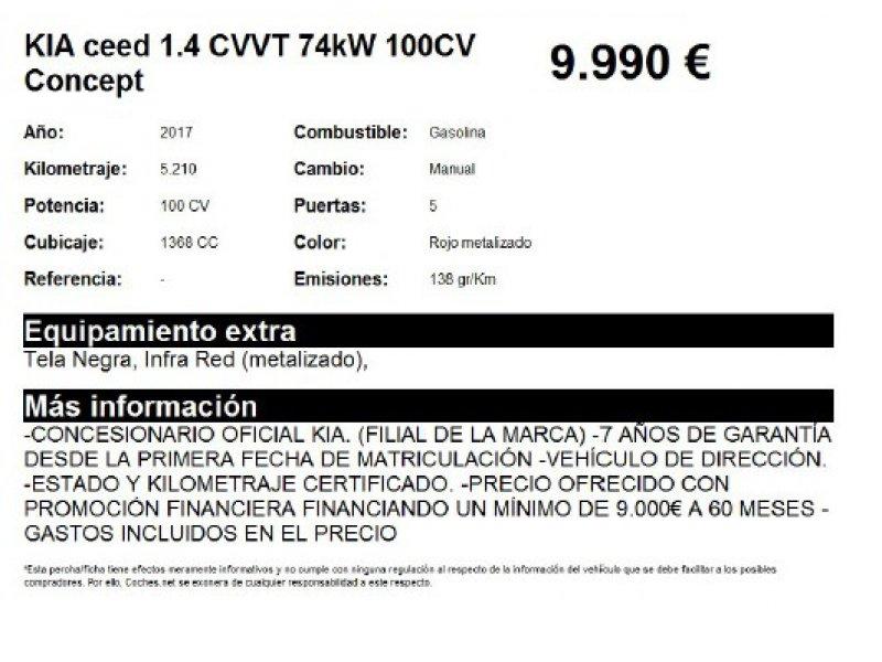 Kia ceed 1.4 CVVT 74kW (100CV) Concept